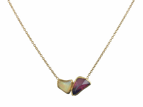 Opal and Red Tourmaline Necklace