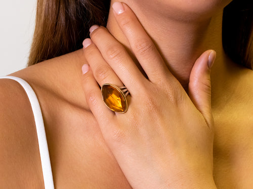 Navette-Shaped Citrine Ring