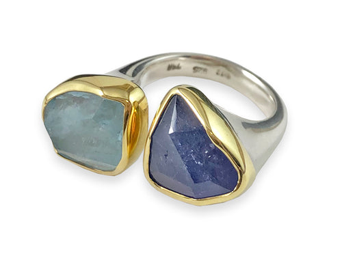 Aquamarine and Tanzanite Ring in Sterling Silver with Yellow Gold