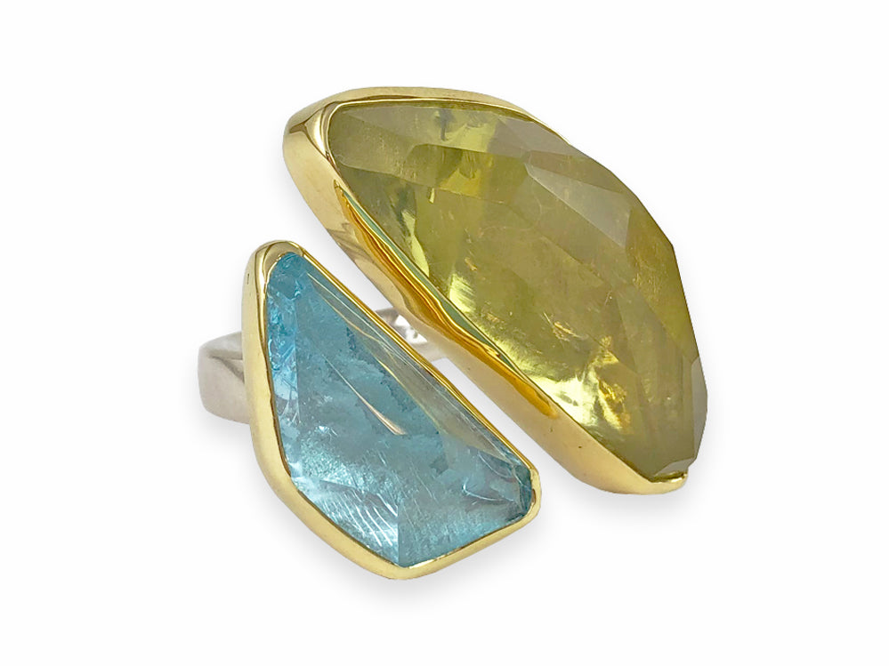 Lemon Quartz and Aquamarine Ring