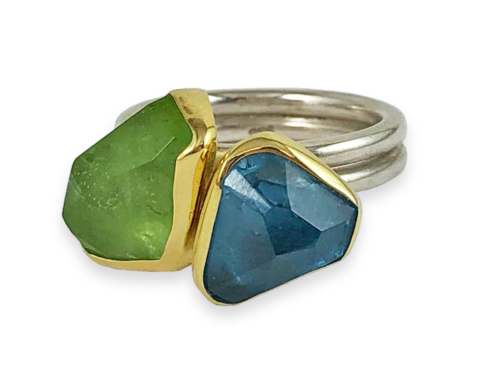 Peridot and London Blue Topaz Ring