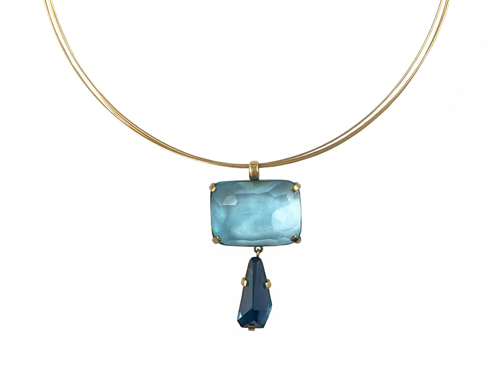 Aquamarine and London Blue Topaz Pendant with Multi-Strand Coil Necklace