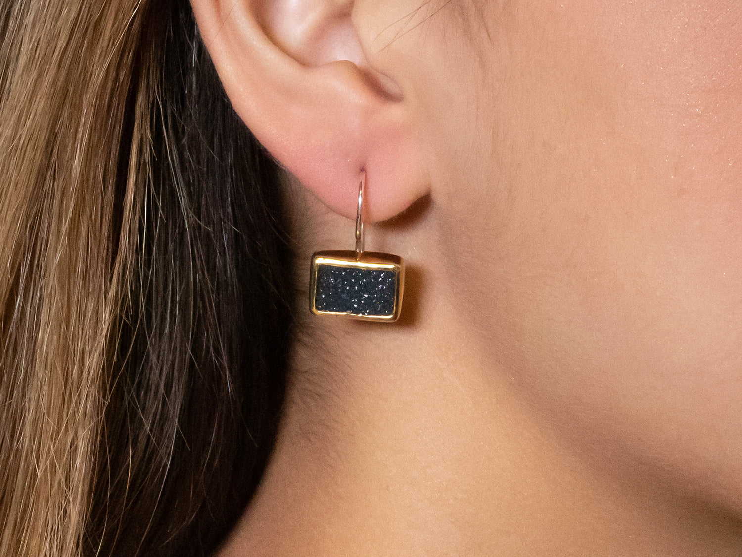 Black Onyx Druzy Earrings