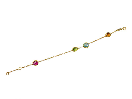 Pink Tourmaline, Aquamarine, Peridot and Citrine Bracelet.