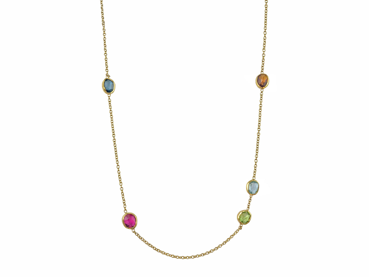 Citrine, Aquamarine, Red Tourmaline, Peridot and London Blue Topaz Necklace