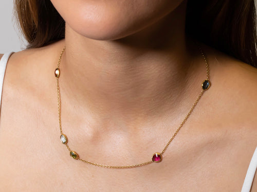 Colorful Multi-Gemstone Necklace in Yellow Gold