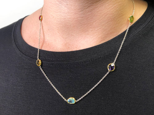 Red Tourmaline, Citrine, Aquamarine, Amethyst and Peridot Necklace