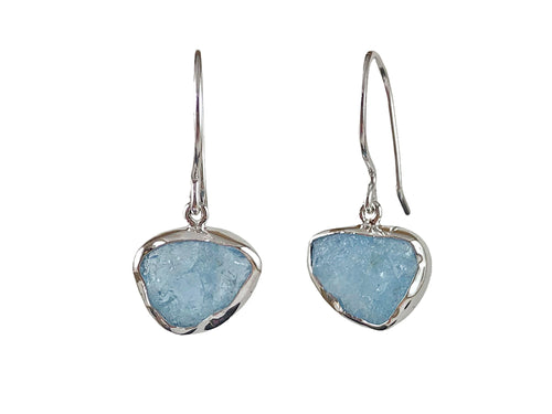 Rough Cut Aquamarine Earrings