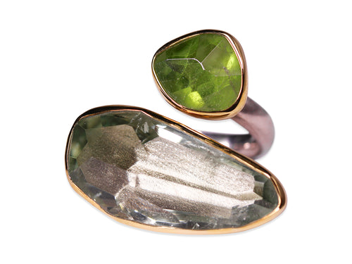 Green Quartz and Peridot Ring
