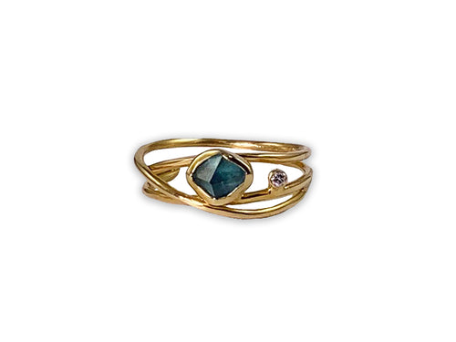 Green-Blue Tourmaline and Diamond Triple Row Ring