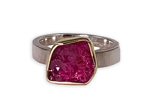 Rough Cut Pink Tourmaline Ring