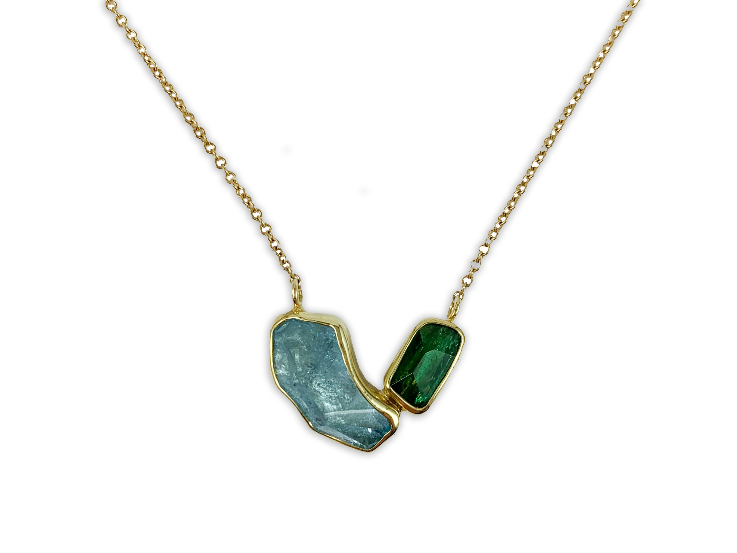 Aquamarine and Green Tourmaline Pendant Necklace
