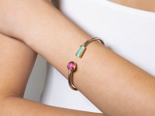 Red and Green Tourmaline Cuff Bracelet