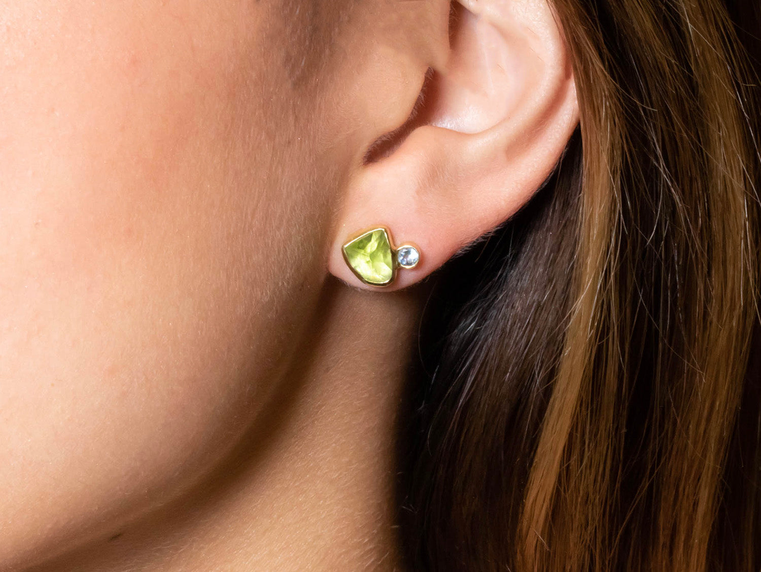 Peridot and Aquamarine Stud Earrings