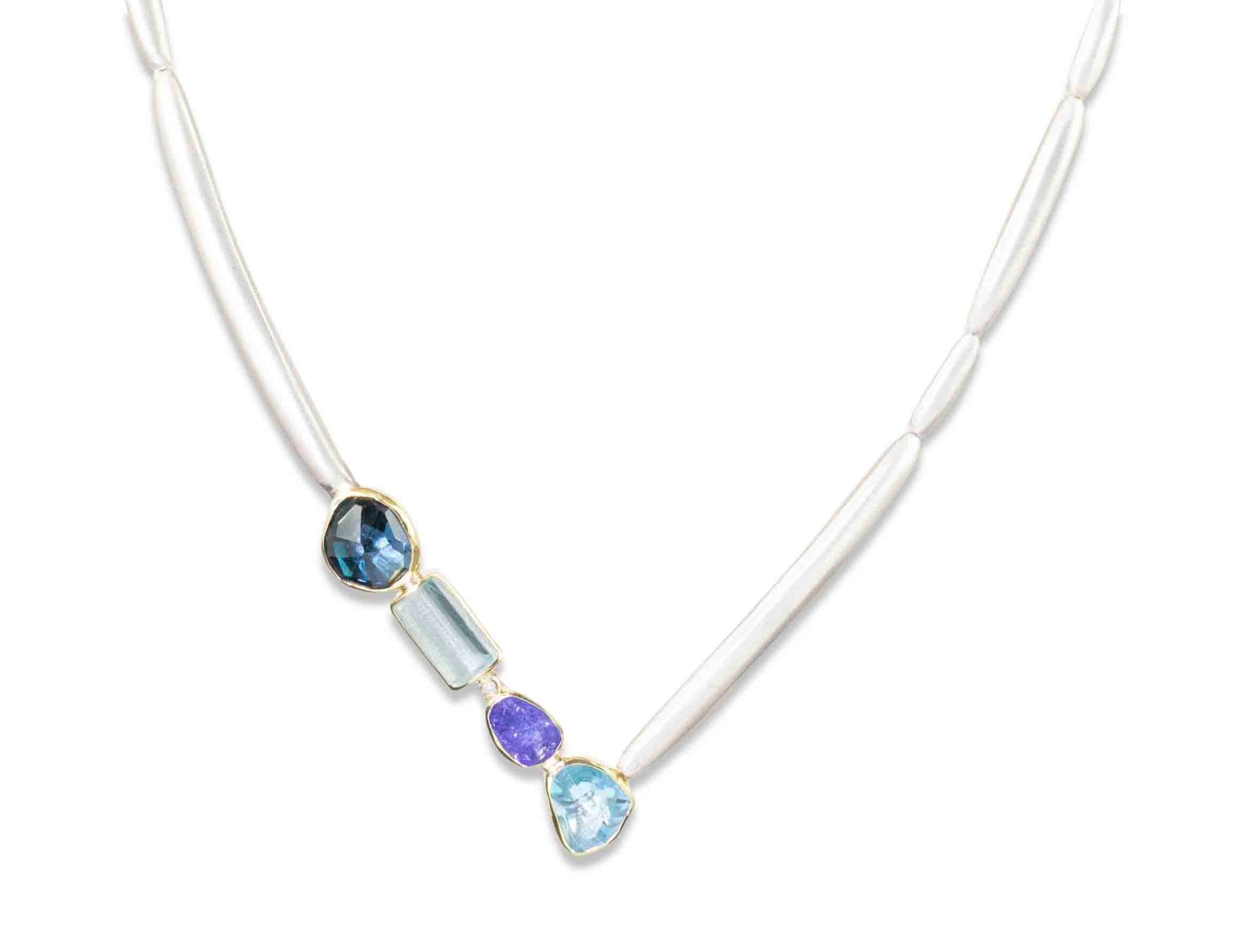 Aquamarine, Tanzanite, Blue Topaz and Diamond Necklace