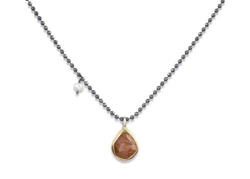 Rutilated Quartz and Seed Pearl Necklace