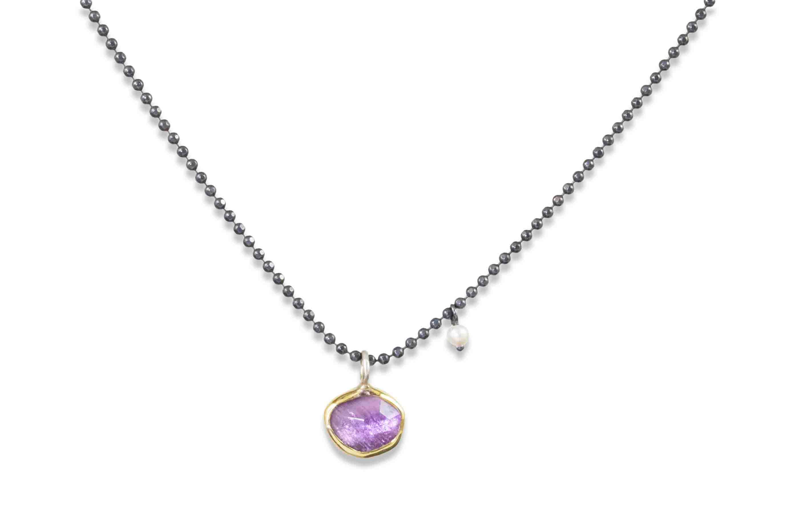 Amethyst and Seed Pearl Necklace