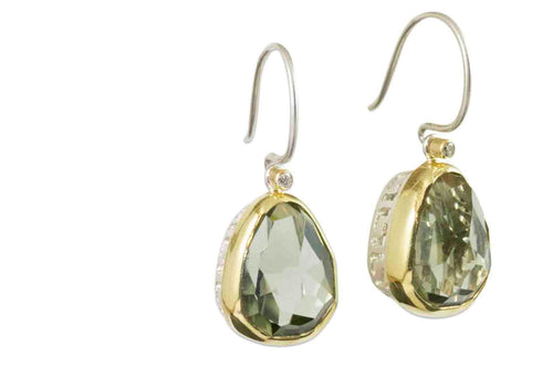 Pear-Shaped Green Quartz and Diamond Earrings