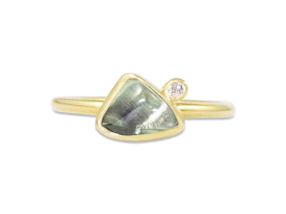 Triangle Green Sapphire Ring