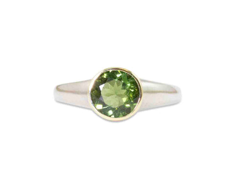 Green and Pink Tourmaline Ring