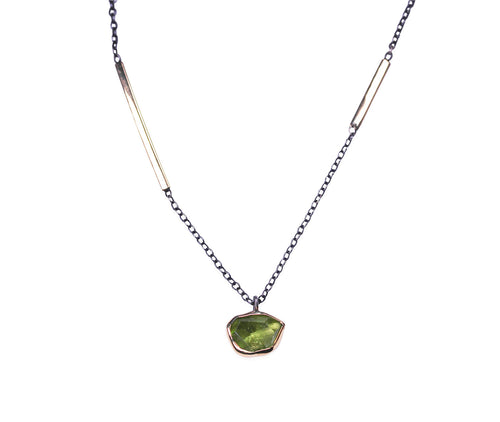Bezel Peridot Necklace with Yellow Gold and Sterling Silver