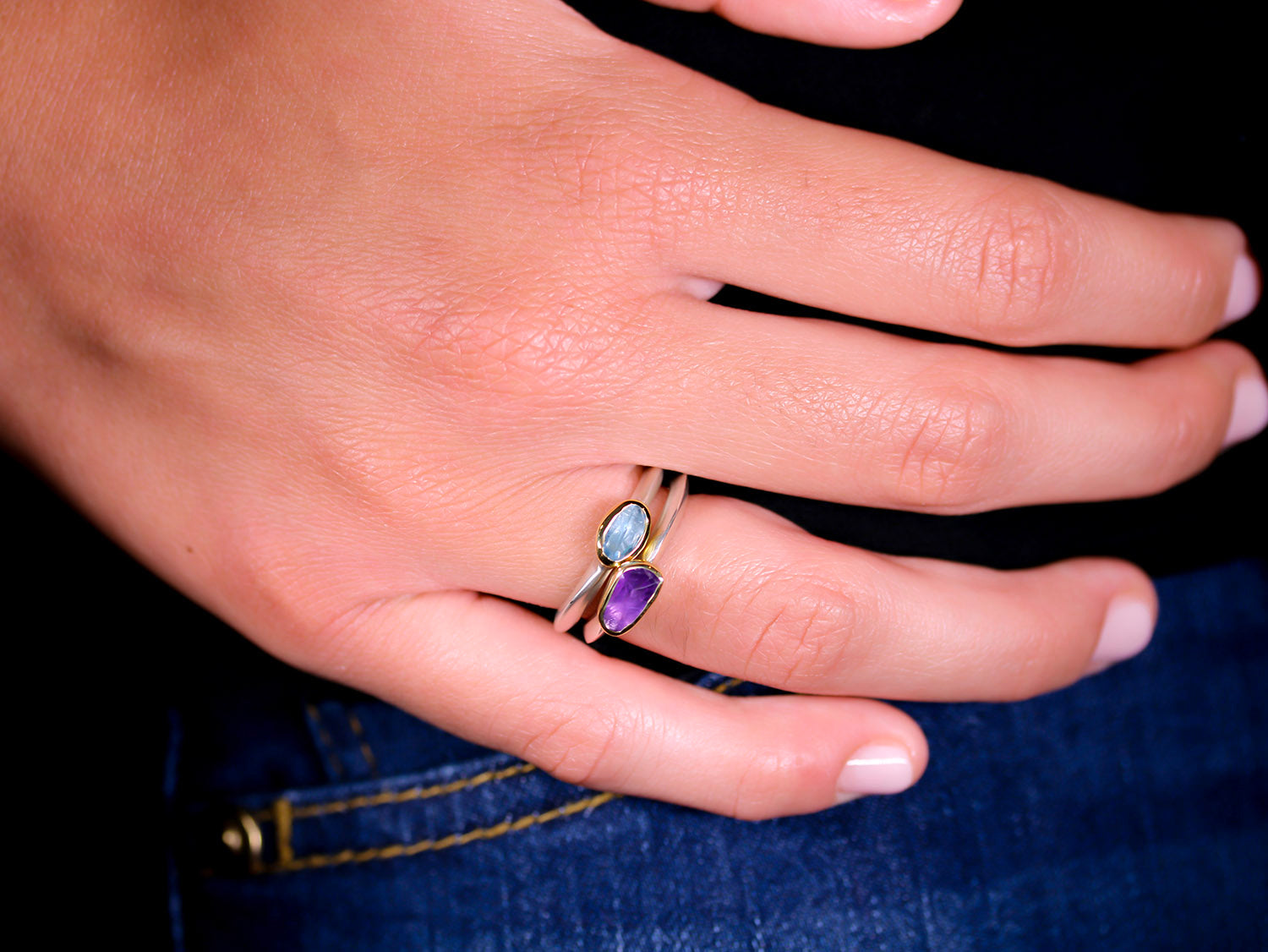 Rough Cut Amethyst Stackable Ring