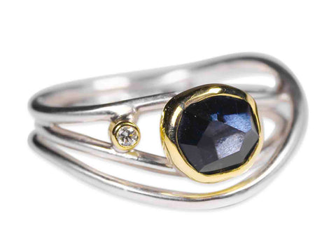 Floating Diamond in Glass Ball Ring