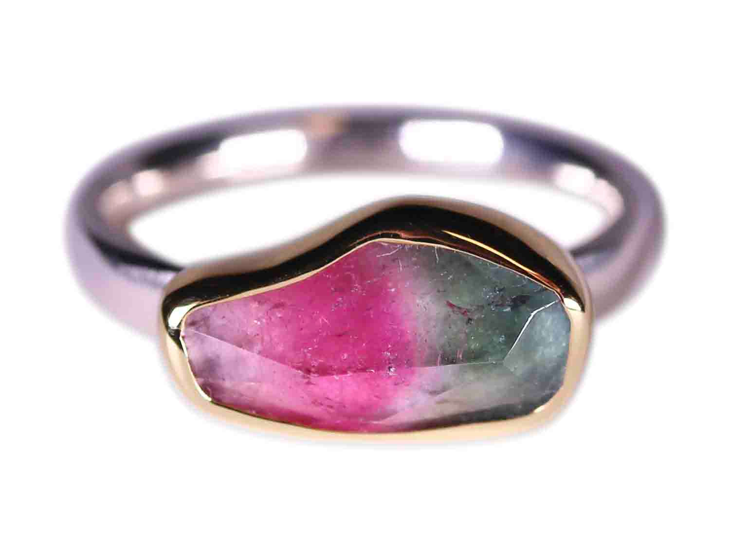 Bezel Watermelon Tourmaline Ring