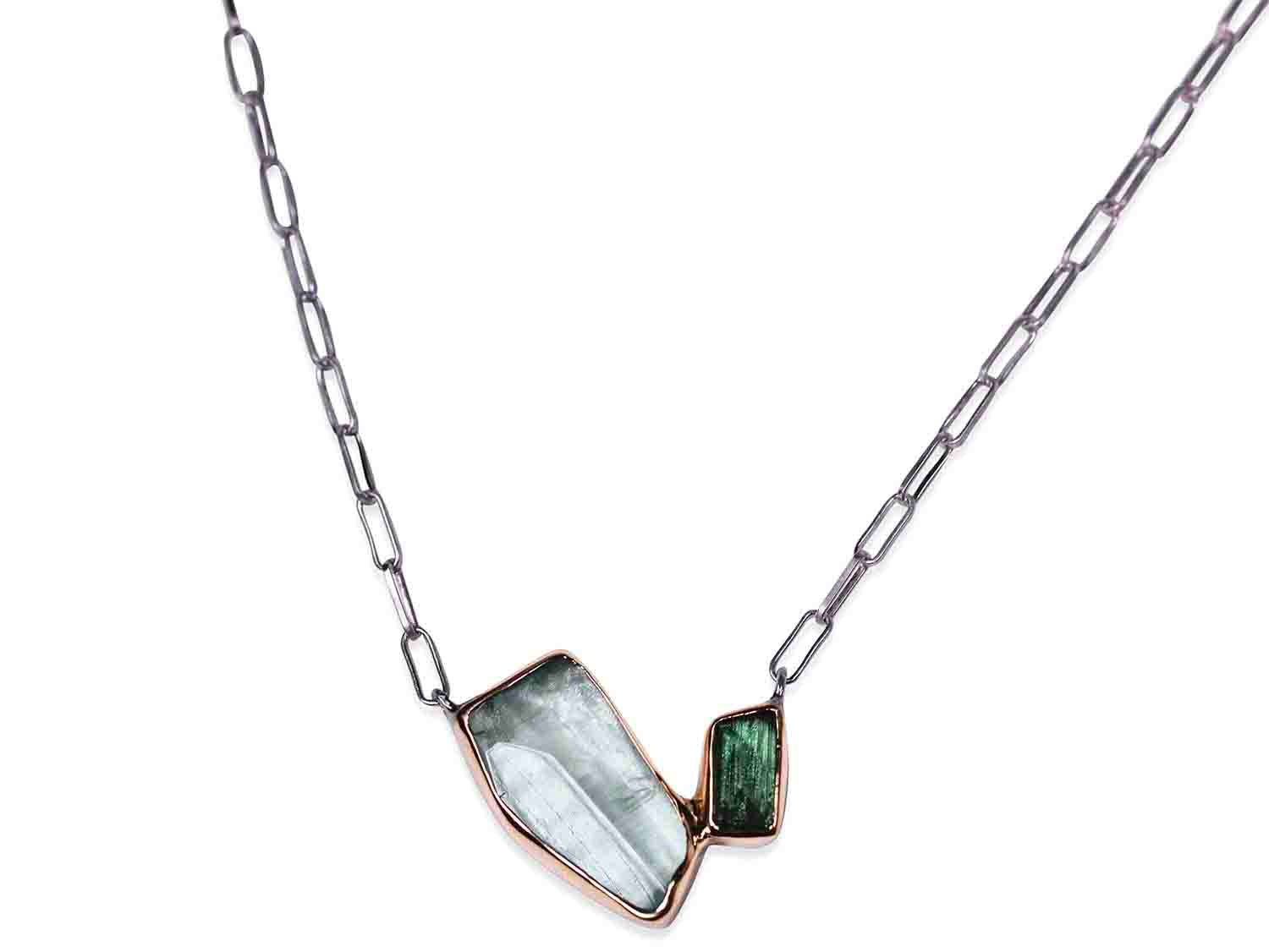 Aquamarine and Green Tourmaline Necklace