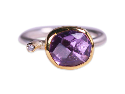 Faceted Amethyst and Diamond Ring
