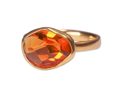 Bezel Set Faceted Citrine Ring
