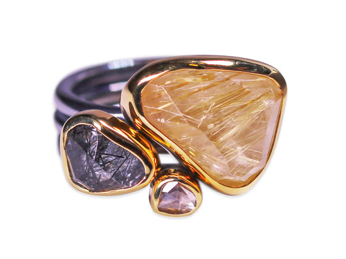 Bezel Set Rutilated Quartz and Diamond Ring