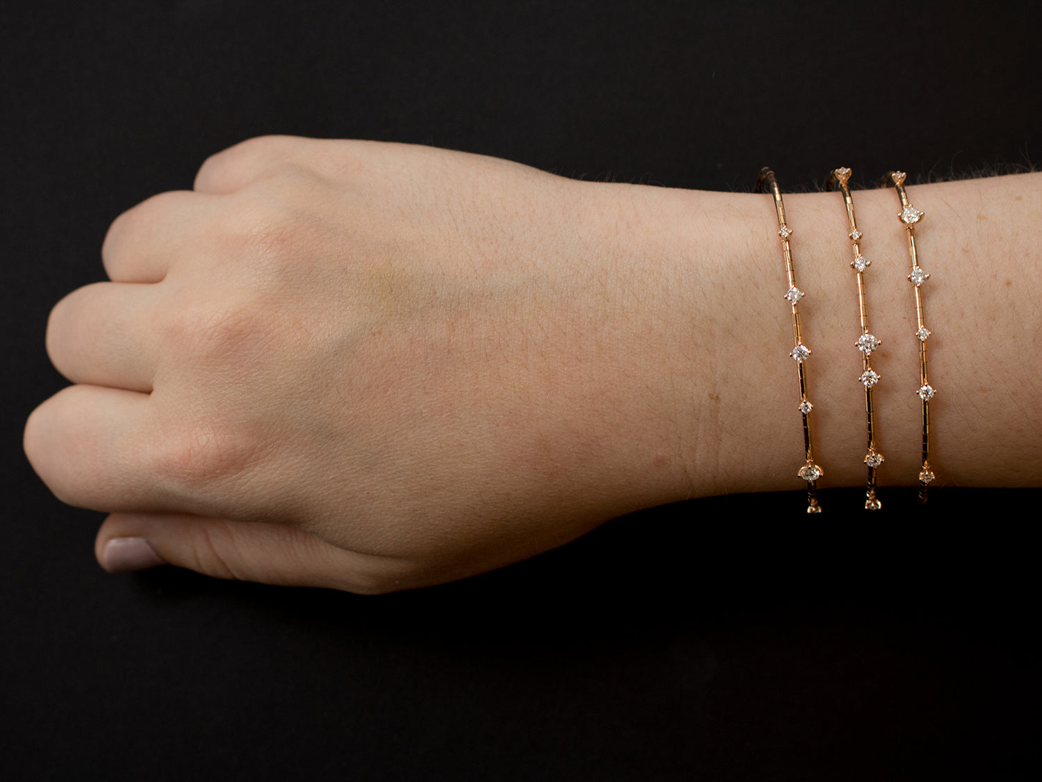 Mattia Cielo Rose Gold and Diamond Flex Bracelet