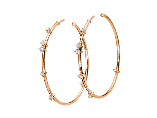 "Mattia Cello Rose Gold and Diamond Hoop ""Flex"" Earrings"