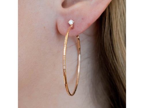 "18K Rose Gold and Diamond Hoop ""Flex"" Earrings"