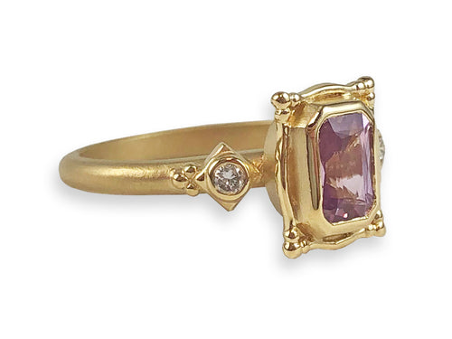 "18K Yellow Gold, Pink Sapphire and Diamond ""Picture Frame"" Engagement Ring"