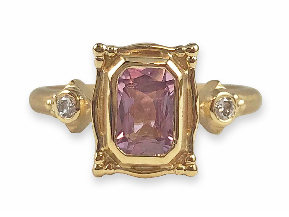 Yellow Gold, Pink Sapphire and Diamond Engagement Ring at the Best Jewelry Store in Washington, DC