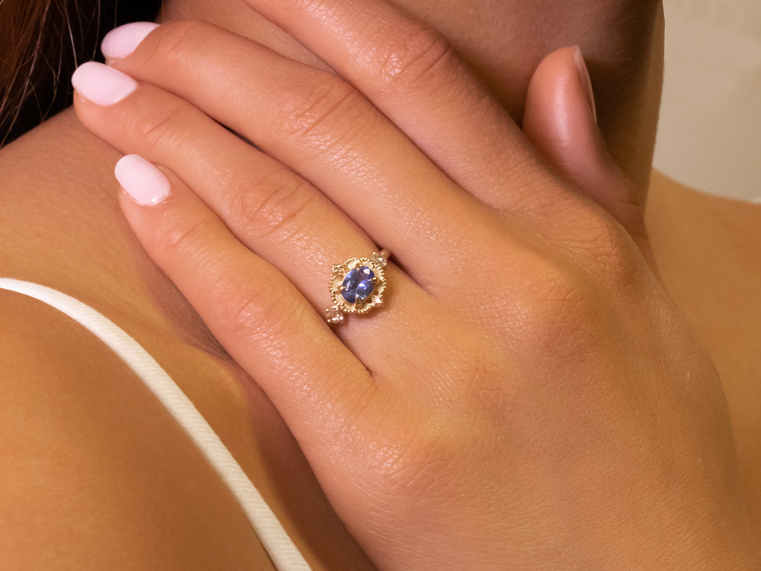 "Blue Sapphire and Diamond ""Venise Frame"" Ring"