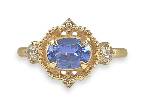 14K White Gold, Sapphire, and Halo Diamond Engagement Ring