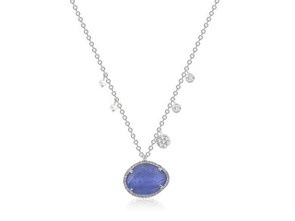14K White Gold, Tanzanite, Diamond and Pearl Necklace
