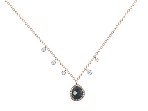 Hematite, Pearl and Diamond Necklace
