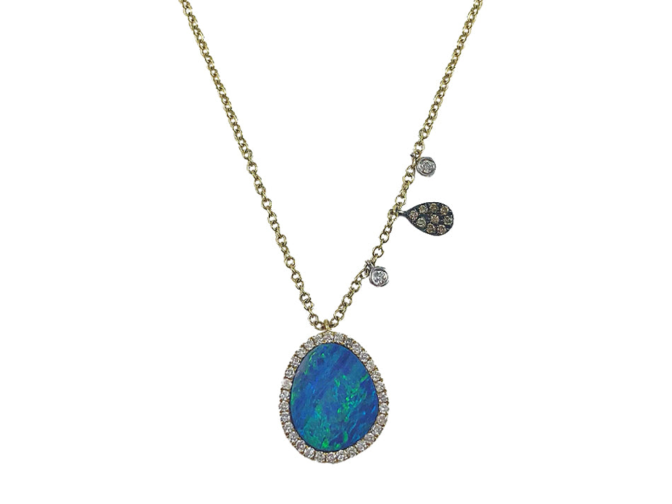 Opal and Diamond Pendant Necklace