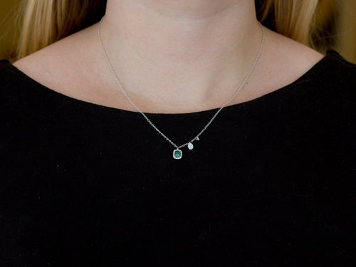 14K White Gold, Emerald and Diamond Necklace