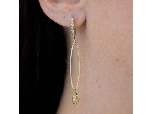 14K Yellow Gold and Dangle Diamond Earrings