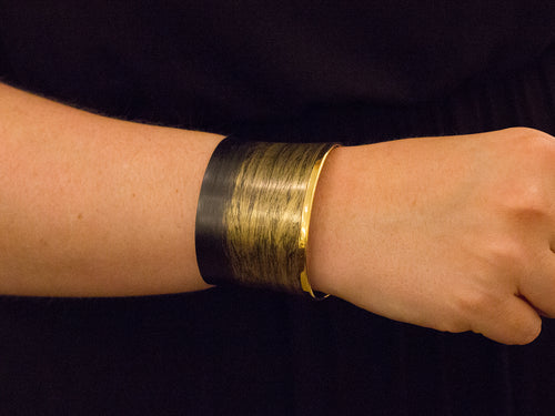 Carbon Fiber and Gold Plated Sterling Silver Cuff Bracelet
