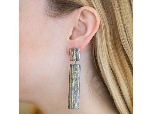 Oxidized Sterling Silver And Gold Earrings
