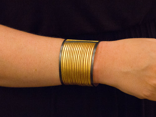 Ruthenium and Gold Plated Sterling Silver Cuff Bracelet