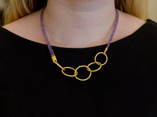 Gold Plated Sterling Silver, Amethyst Bead and Cubic Zirconia Necklace
