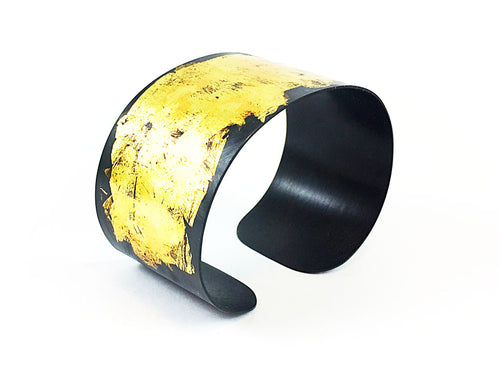Oxidized and Gold Plated Sterling Silver Cuff Bracelet