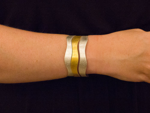 Partially Gold Plated Sterling Silver Cuff Bracelet